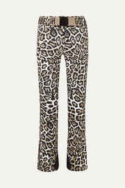 Goldbergh Roar belted faux leather-trimmed leopard-print ski pants