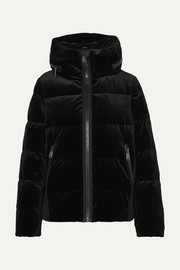 Emmelina hooded quilted velvet down ski jacket