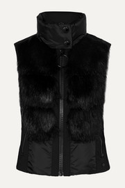 Adda faux fur-paneled quilted down vest