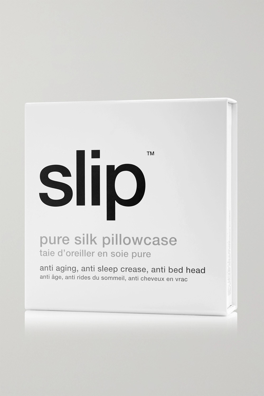Slip Embroidered silk-satin Euro sham pillow