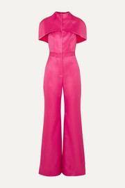 Cape-effect wool and silk-blend satin jumpsuit