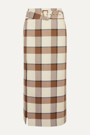 STAUD Simone belted checked wool-blend piqué midi skirt