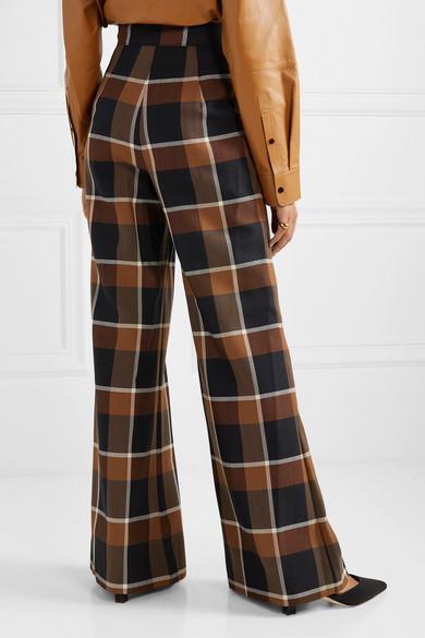 Staud Pants Checked wool-blend wide-leg pants