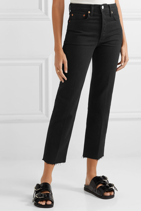 Stove Pipe Comfort Stretch cropped high-rise straight-leg jeans