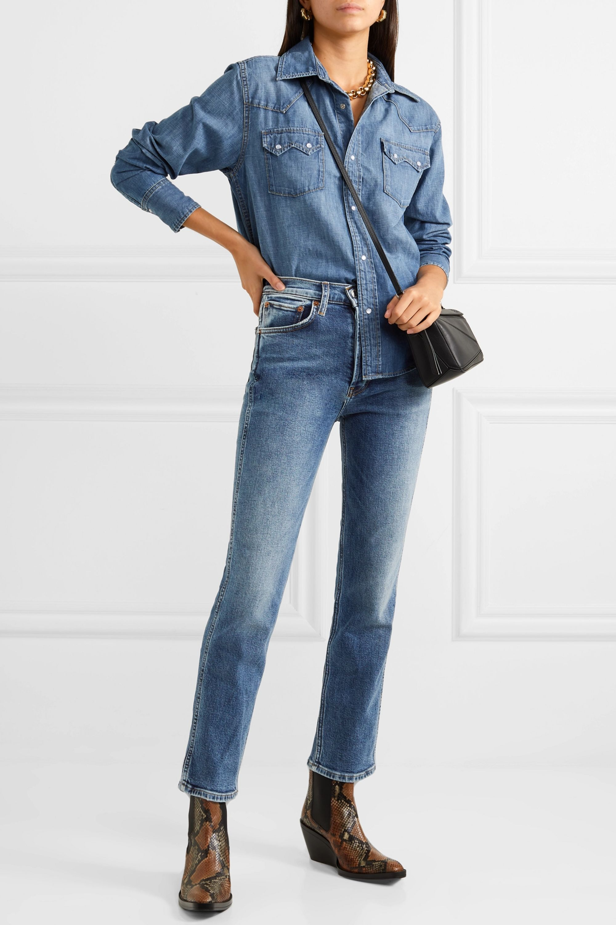 RE/DONE Comfort Stretch 50s Cigarette cropped high-rise straight-leg jeans