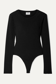 RE/DONE Ribbed cotton-jersey thong bodysuit