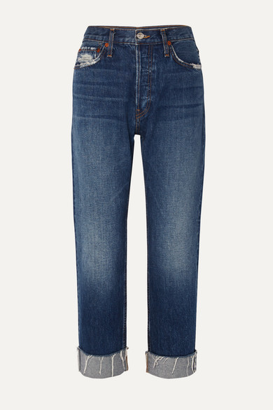 90s Loose distressed low-rise straight-leg jeans