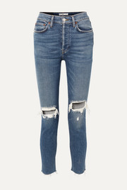 RE/DONE Originals High-Rise Ankle Crop distressed skinny jeans