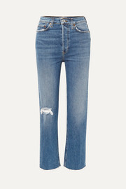 RE/DONE Ultra High Rise Stove Pipe Comfort Stretch cropped distressed straight-leg jeans