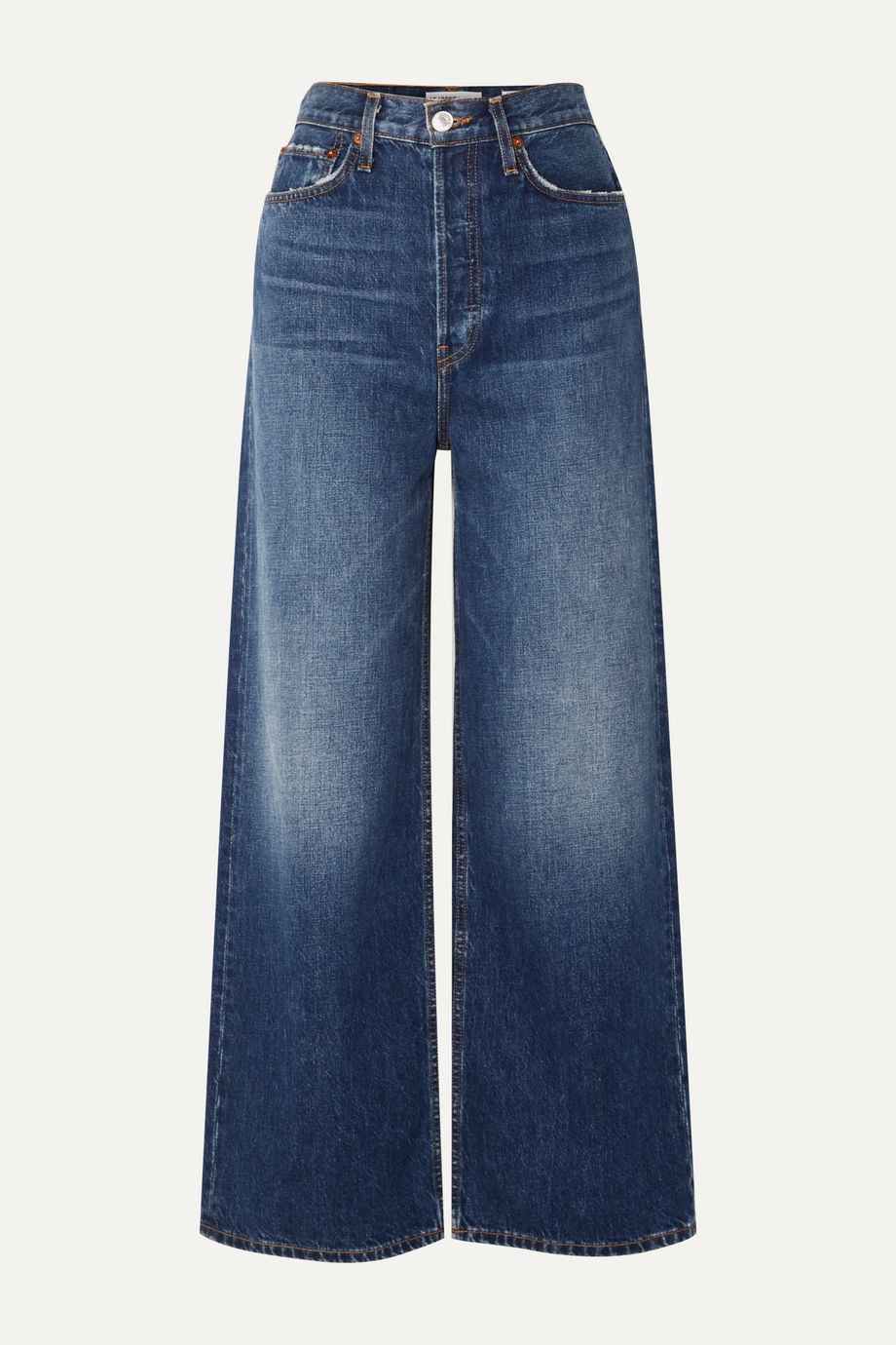 RE/DONE 60s Extreme cropped distressed high-rise wide-leg jeans
