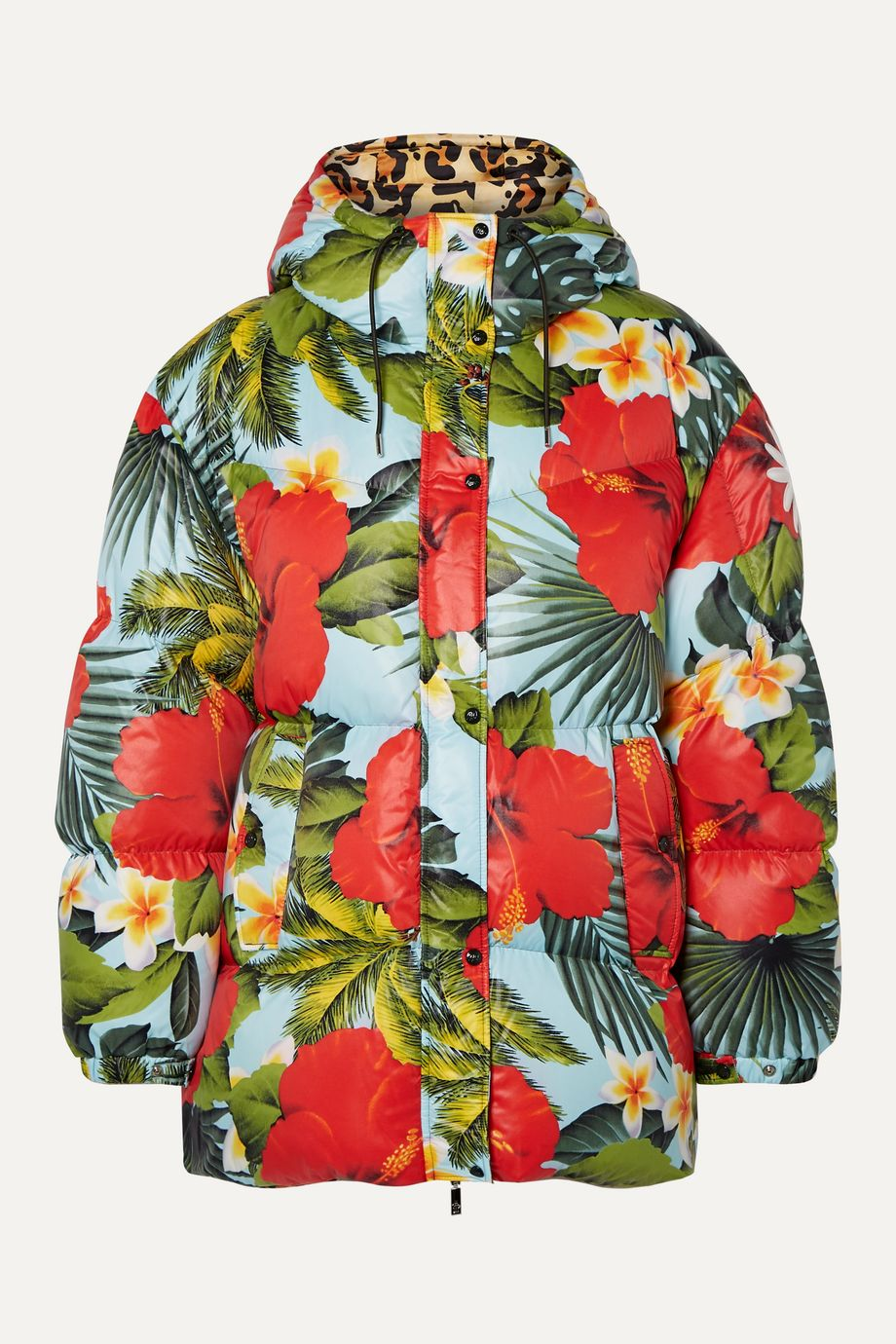 Moncler Genius + 0 Richard Quinn Mary oversized hooded printed quilted shell down jacket