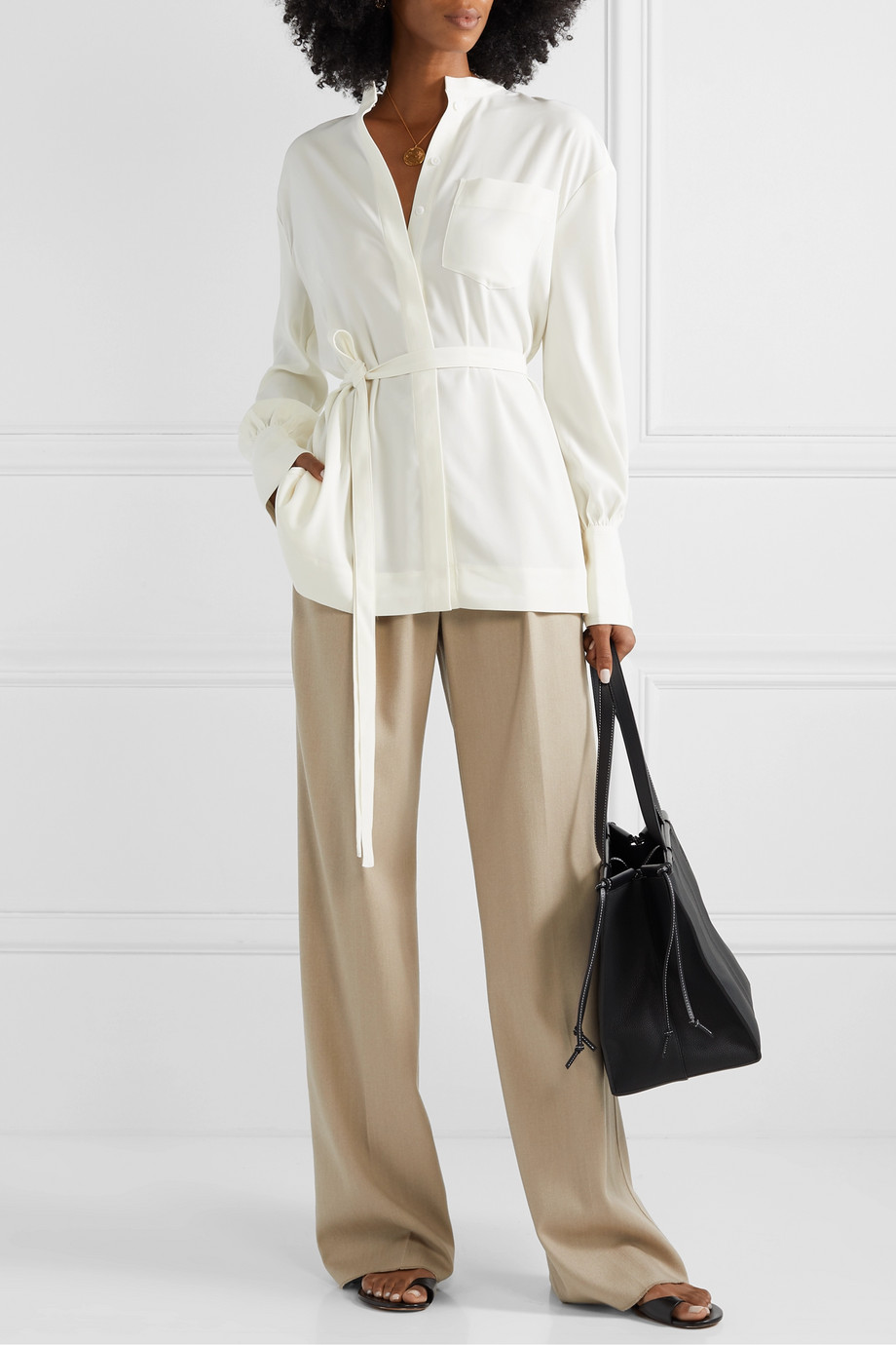 Co Belted crepe de chine shirt
