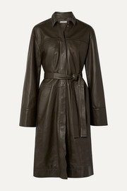Co Belted leather coat