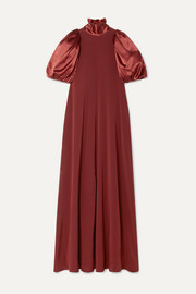 Satin and crepe maxi dress