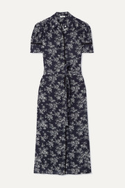 Jason Wu Belted floral-print silk crepe de chine midi dress