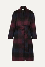 Belted checked brushed wool-blend coat
