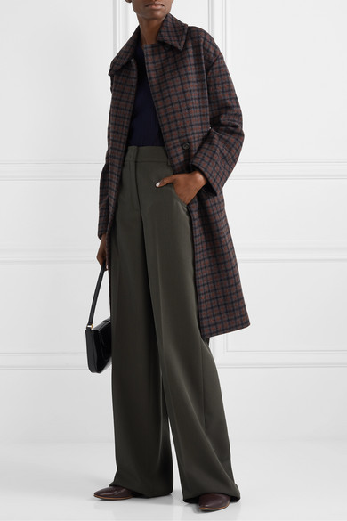 Belted Checked Wool Blend Coat by Vince