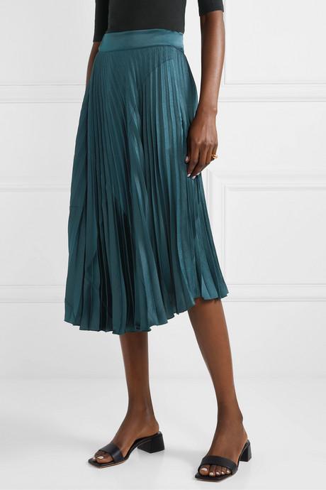 Paneled pleated crepe and crinkled-satin midi skirt