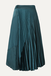 Vince Paneled pleated crepe and crinkled-satin midi skirt