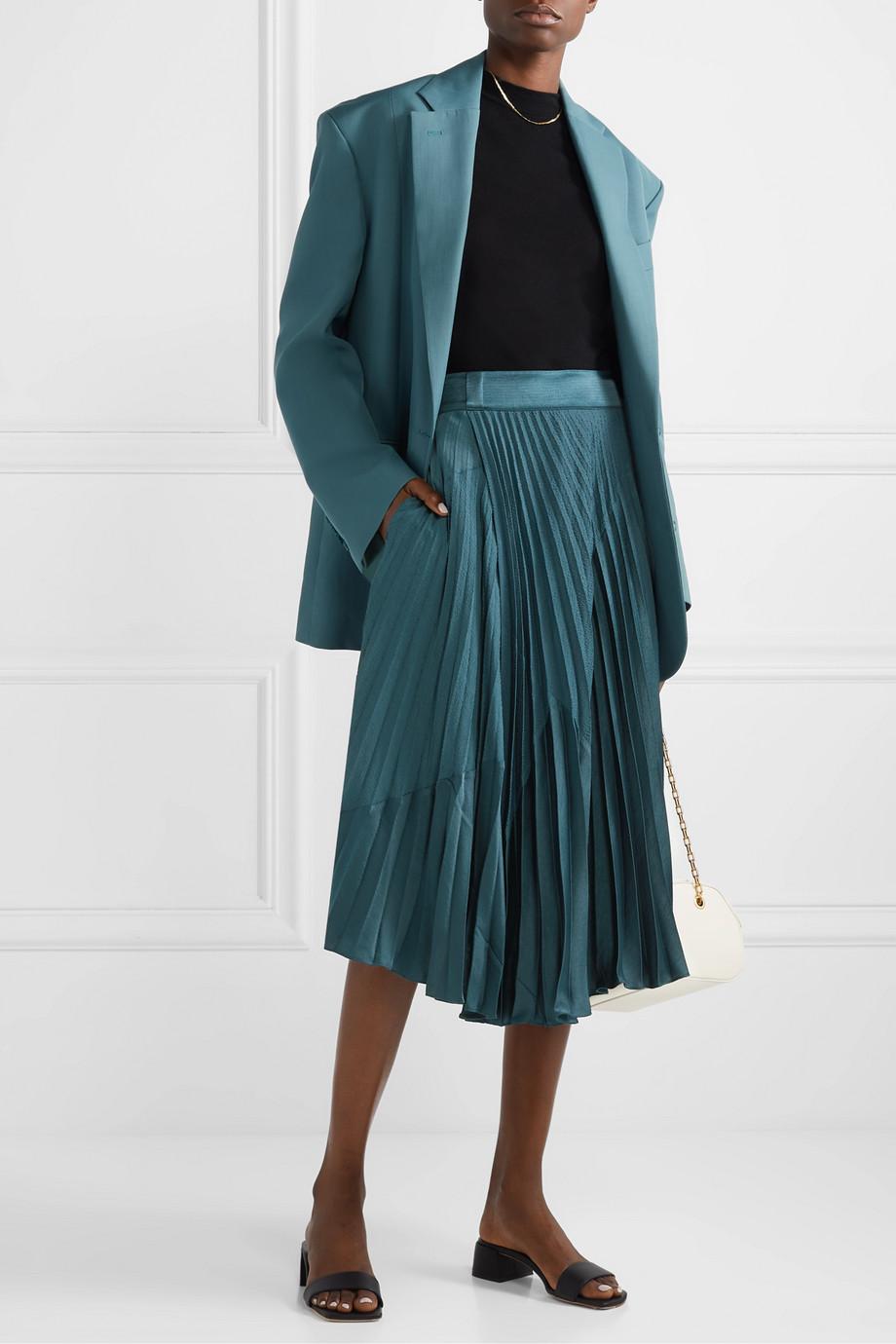 Vince Paneled pleated crepe and crinkled-satin midi skirt