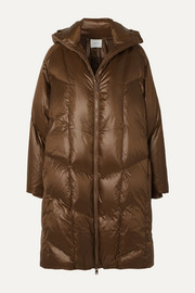 Quilted shell down hooded coat