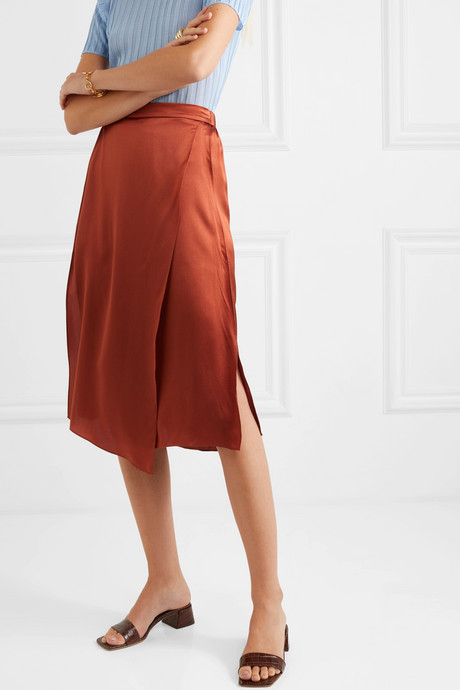 Wrap-effect draped silk-satin skirt