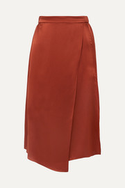 Wrap-effect draped silk-satin skirt