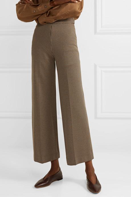 Houndstooth jacquard-knit straight-leg pants