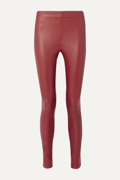 Helmut Lang Skinny Stretch-Leather Leggings In Claret