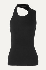 Cutout ribbed cotton-jersey tank