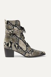 Tabitha Simmons Porter buckled snake-effect leather ankle boots