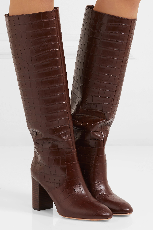 Loeffler Randall Goldy croc-effect leather knee boots