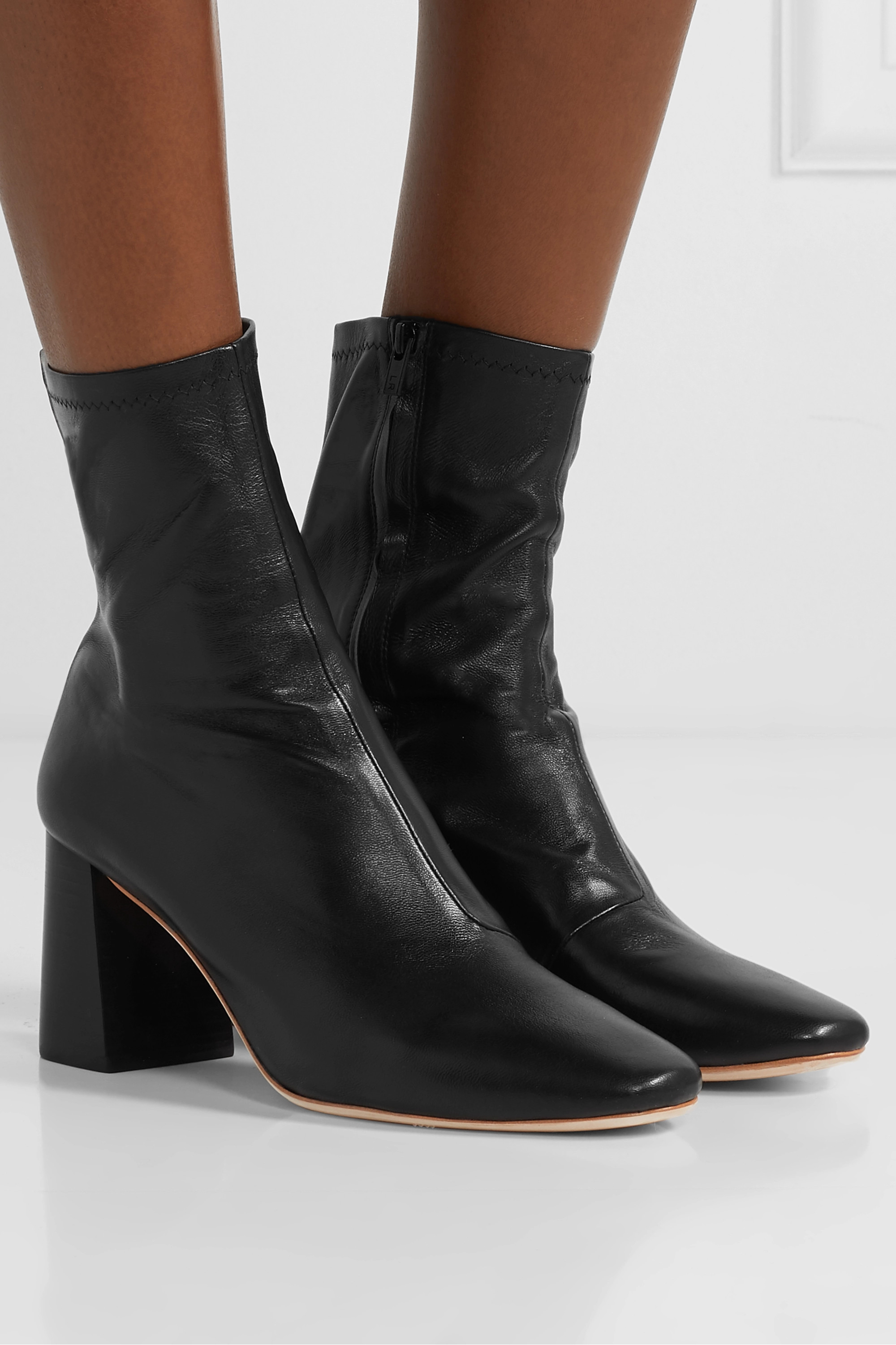 Black Elise leather ankle boots