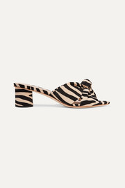 Celeste knotted zebra-print twill mules