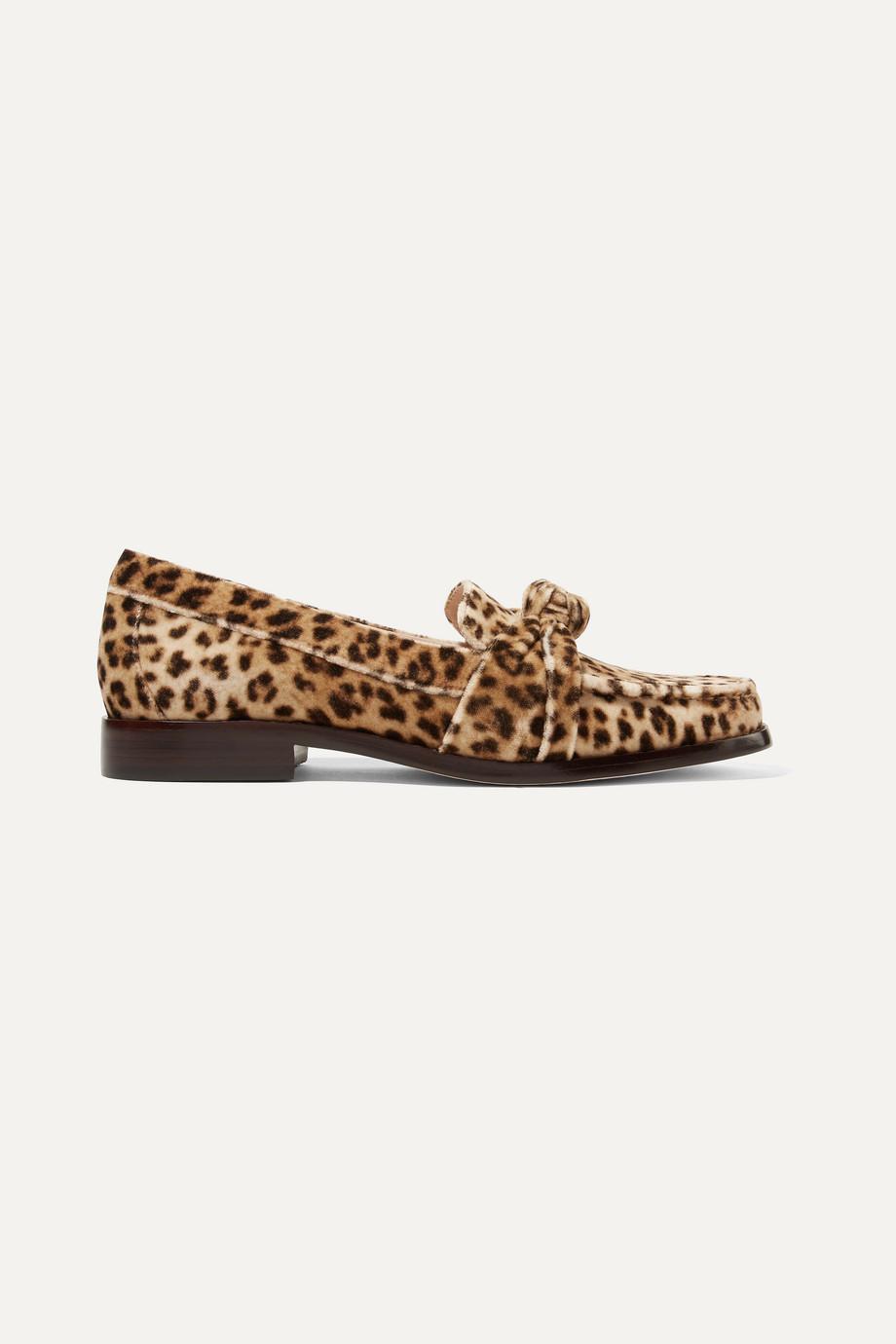 Loeffler Randall Elina knotted leopard-print velvet loafers