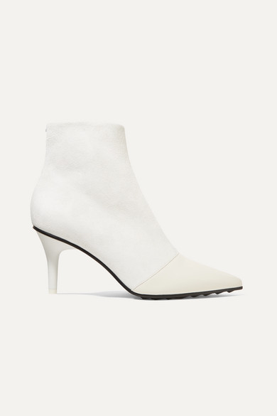 Rag & Bone Boots BEHA MOTO PANELED LEATHER AND SUEDE ANKLE BOOTS
