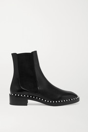 Stuart Weitzman Cline faux pearl-embellished leather Chelsea boots