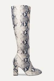 Milla snake-effect leather knee boots