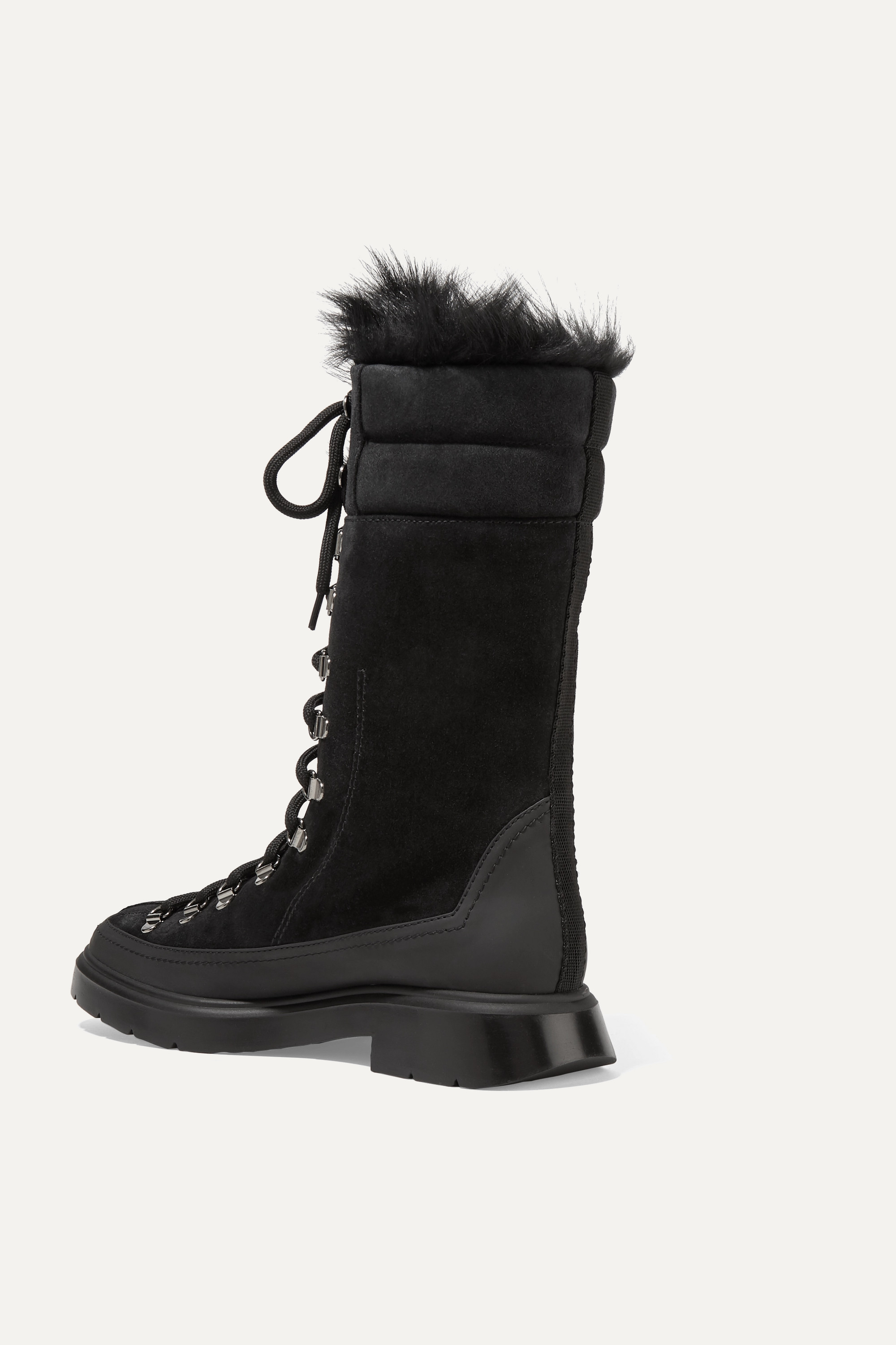 Stuart Weitzman Jessie shearling and rubber-trimmed suede boots