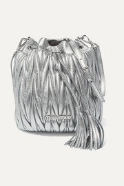 Metallic matelassé leather bucket bag