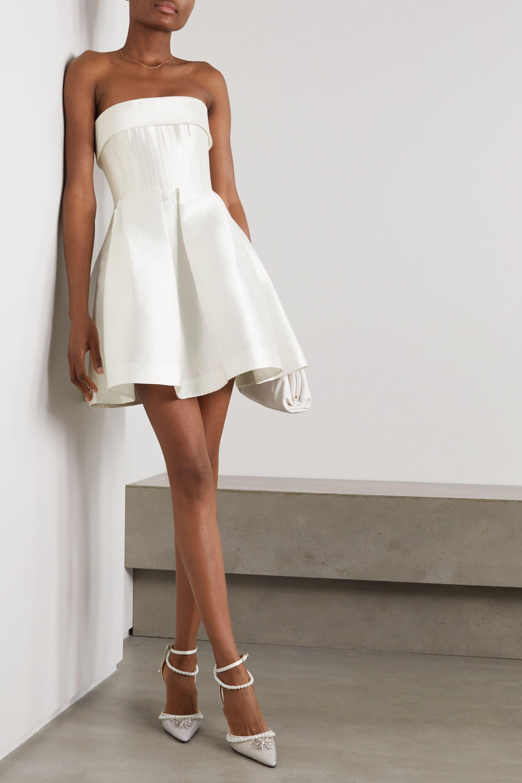 Elyse strapless silk-faille mini dress