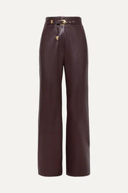 Kisa belted vegan leather straight-leg pants