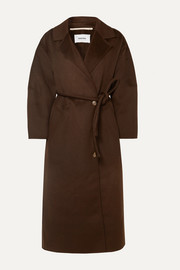 Loane oversized belted wool and silk-blend coat