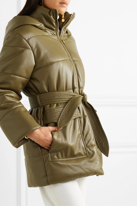 Lenox belted quilted vegan leather jacket