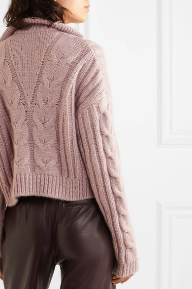 Nanushka Knits Eria cropped faux pearl-embellished cable-knit sweater