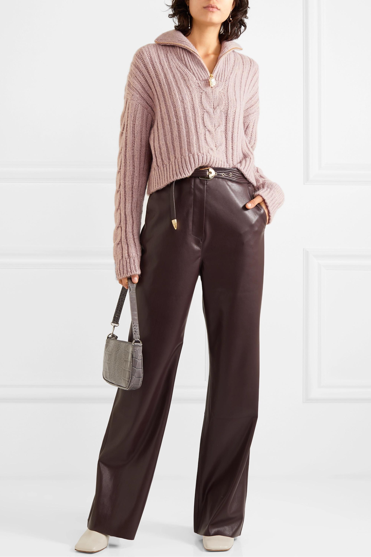 Nanushka Eria cropped faux pearl-embellished cable-knit sweater