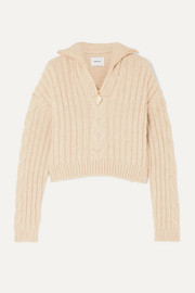 Eria cropped faux pearl-embellished cable-knit sweater