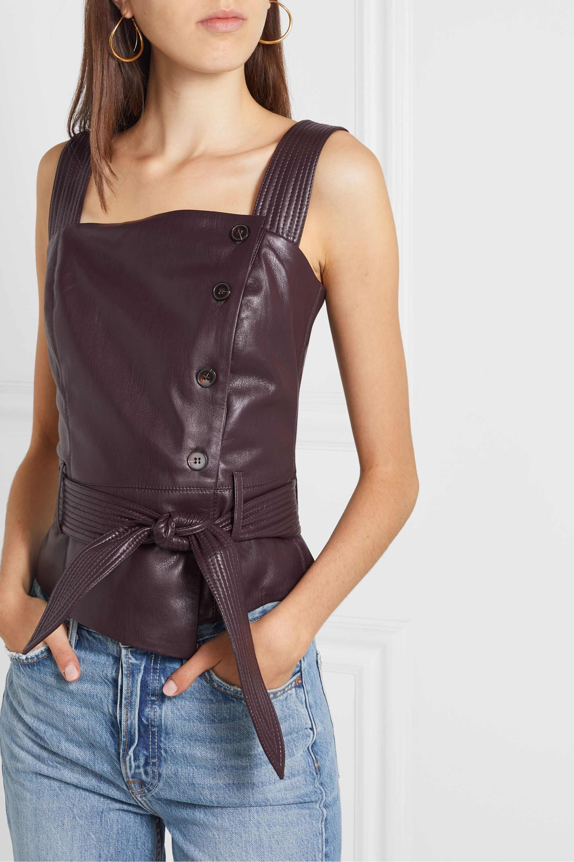 Nanushka Asya belted vegan leather top