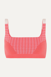 + NET SUSTAIN houndstooth technical stretch-organic cotton sports bra