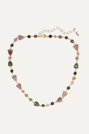 Gold-plated quartz necklace